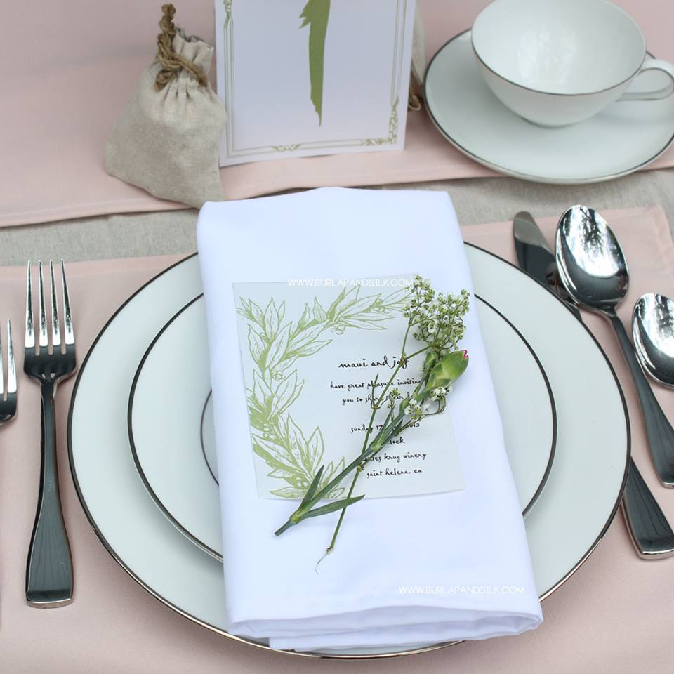Blush Tablecloths, White Napkins